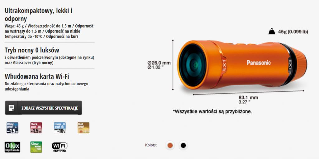 Panasonic HX-A1ME SPECYFIKACJA